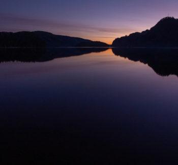 Solnedgang over Lygne i Hægebostad kommune, Agder. Foto: Lars Verket